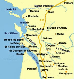 Bernezac.  Côte Atlantique, Repères géographiques, Charente
